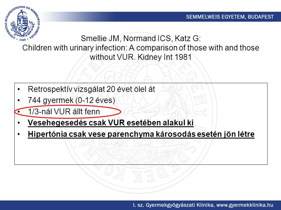 Smellie JM, Normand ICS, Katz G: Children with urinary infection: A comparison of those with and those without VUR. Kidney Int 1981 Retrospektív vizsg