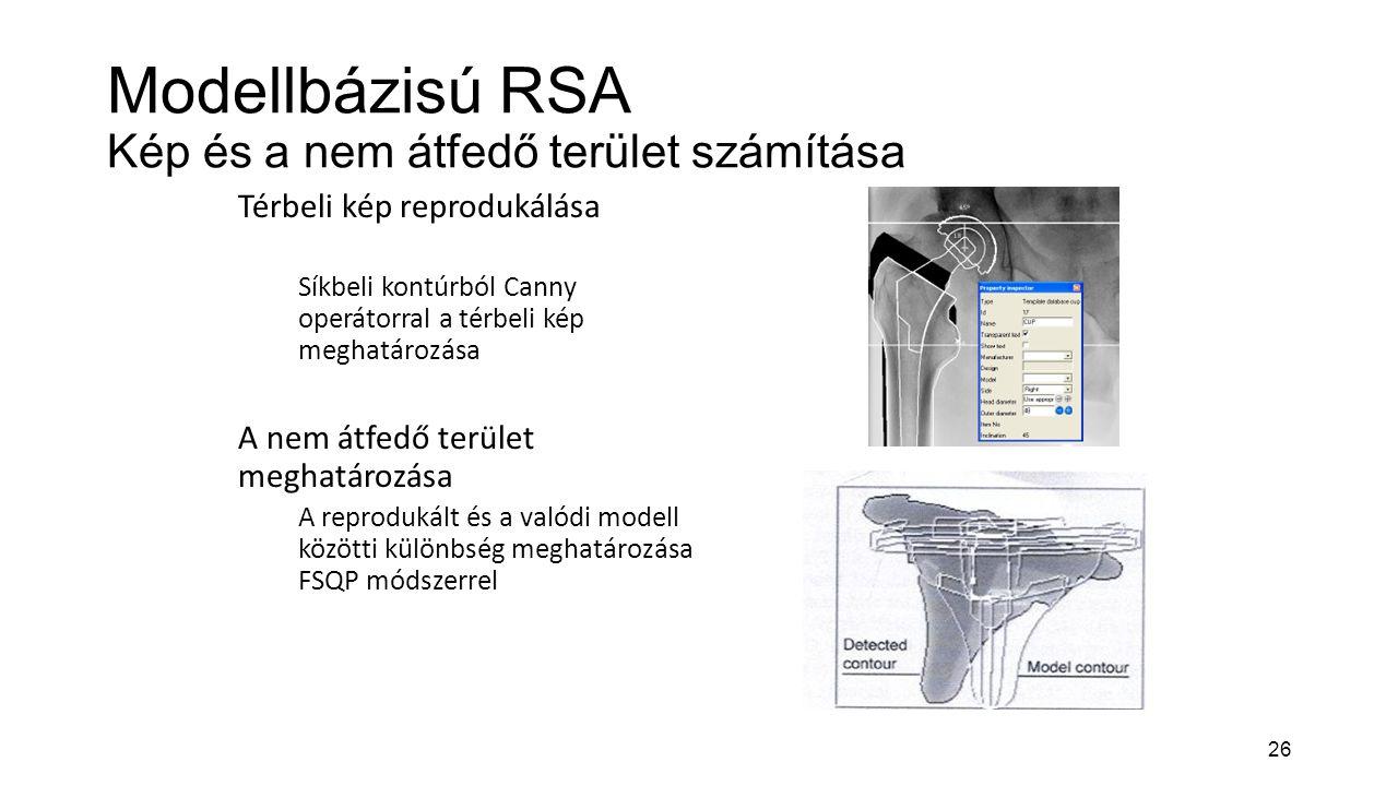 26 Modellbázisú RSA Kép és a nem átfedő terület számítása Térbeli kép reprodukálása Síkbeli kontúrból Canny operátorral a térbeli kép meghatározása A nem átfedő terület meghatározása A reprodukált és a valódi modell közötti különbség meghatározása FSQP módszerrel