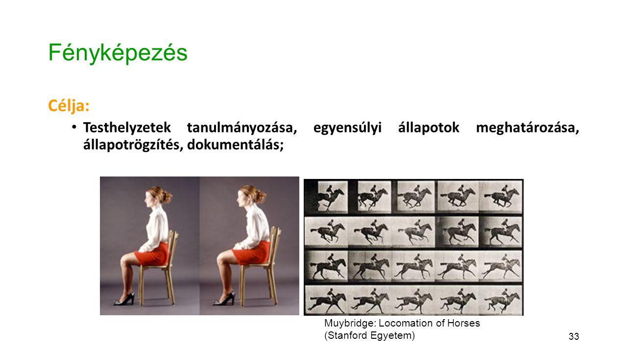 33 Fényképezés Célja: Testhelyzetek tanulmányozása, egyensúlyi állapotok meghatározása, állapotrögzítés, dokumentálás; Muybridge: Locomation of Horses (Stanford Egyetem)