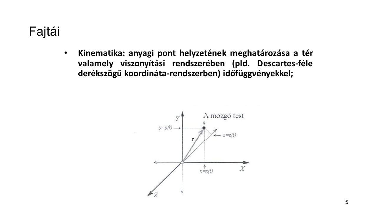 5 Fajtái Kinematika: anyagi pont helyzetének meghatározása a tér valamely viszonyítási rendszerében (pld. Descartes-féle derékszögű koordináta-rendsze