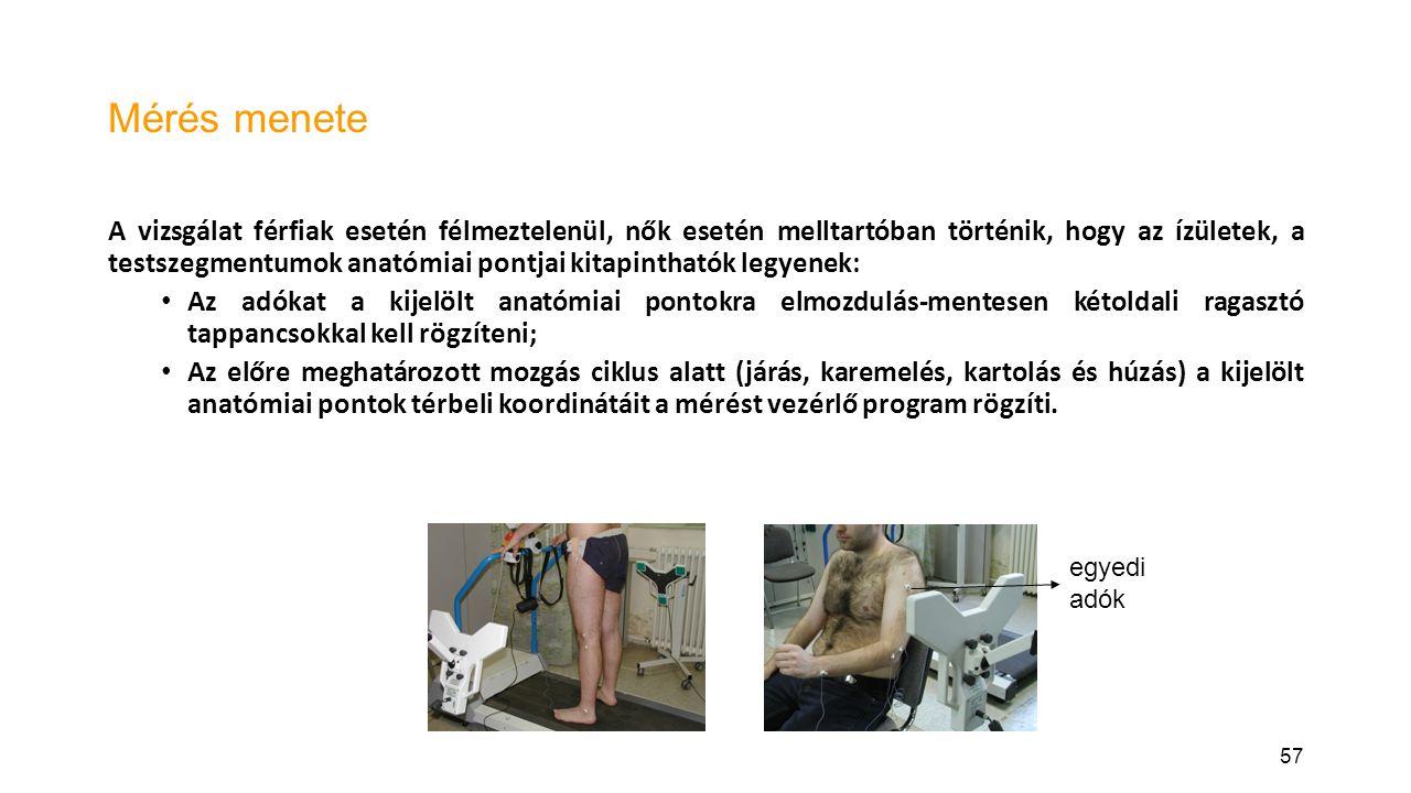 57 Mérés menete A vizsgálat férfiak esetén félmeztelenül, nők esetén melltartóban történik, hogy az ízületek, a testszegmentumok anatómiai pontjai kitapinthatók legyenek: Az adókat a kijelölt anatómiai pontokra elmozdulás-mentesen kétoldali ragasztó tappancsokkal kell rögzíteni; Az előre meghatározott mozgás ciklus alatt (járás, karemelés, kartolás és húzás) a kijelölt anatómiai pontok térbeli koordinátáit a mérést vezérlő program rögzíti.