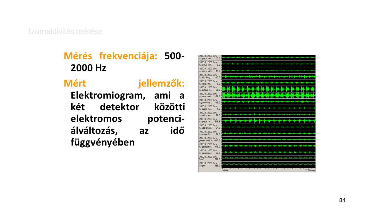 84 Izomaktivitás mérése Mérés frekvenciája: 500- 2000 Hz Mért jellemzők: Elektromiogram, ami a két detektor közötti elektromos potenci- álváltozás, az idő függvényében