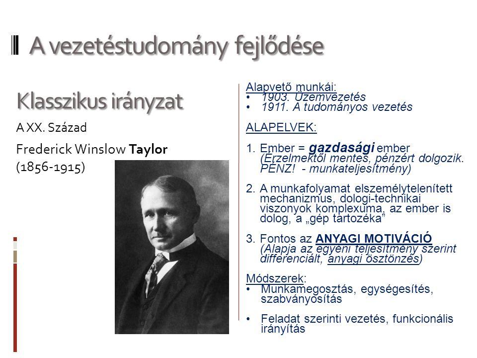 Alapvető munkái: 1903.Üzemvezetés 1911.