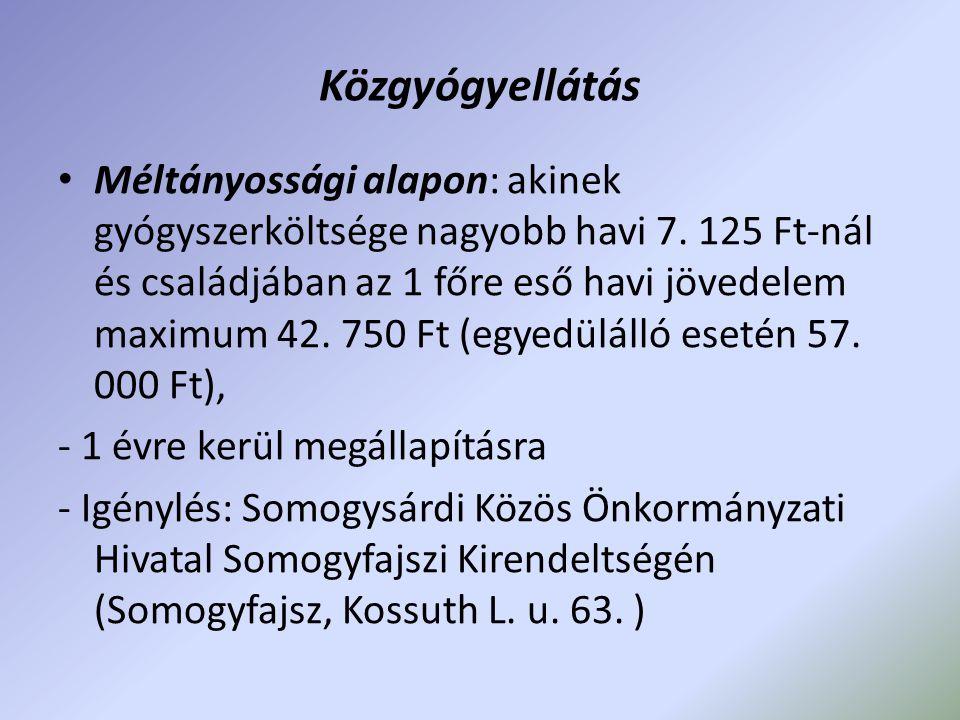 Közgyógyellátás Méltányossági alapon: akinek gyógyszerköltsége nagyobb havi 7. 125 Ft-nál és családjában az 1 főre eső havi jövedelem maximum 42. 750