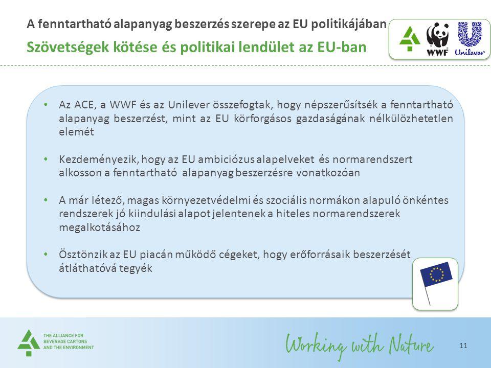 A fenntartható alapanyag beszerzés szerepe az EU politikájában Szövetségek kötése és politikai lendület az EU-ban 11 Az ACE, a WWF és az Unilever össz