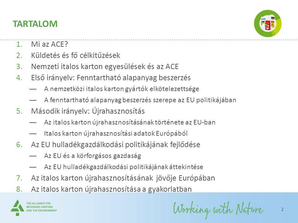 TARTALOM 1.Mi az ACE? 2.Küldetés és fő célkitűzések 3.Nemzeti italos karton egyesülések és az ACE 4.Első irányelv: Fenntartható alapanyag beszerzés ―