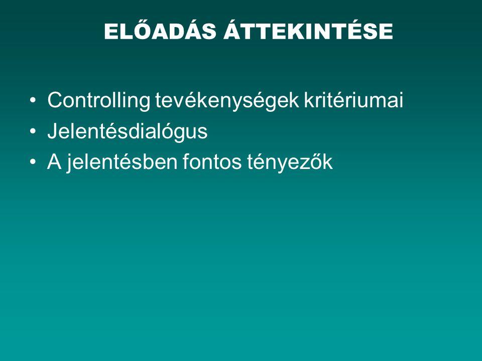 Controlling tevékenységek kritériumai Jelentésdialógus A jelentésben fontos tényezők ELŐADÁS ÁTTEKINTÉSE