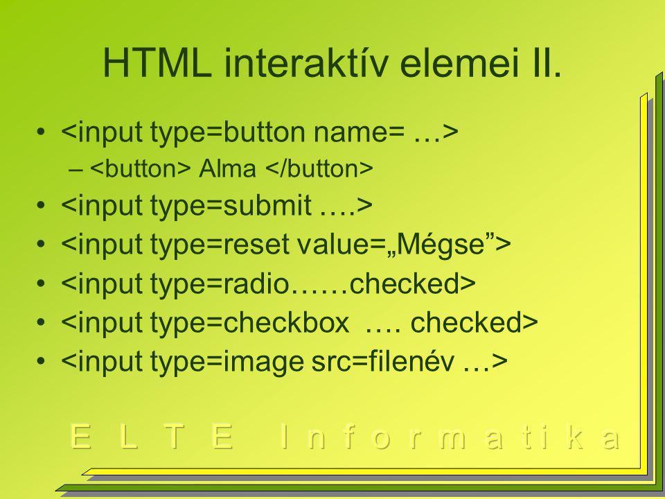 HTML interaktív elemei II. – Alma