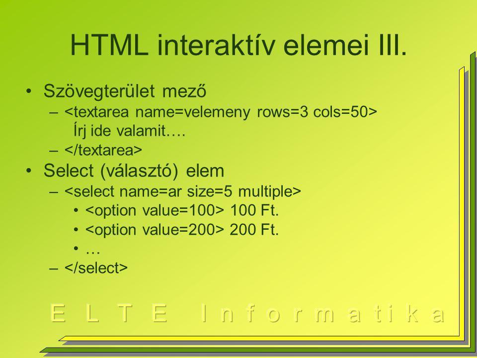 HTML interaktív elemei III.Szövegterület mező – Írj ide valamit….