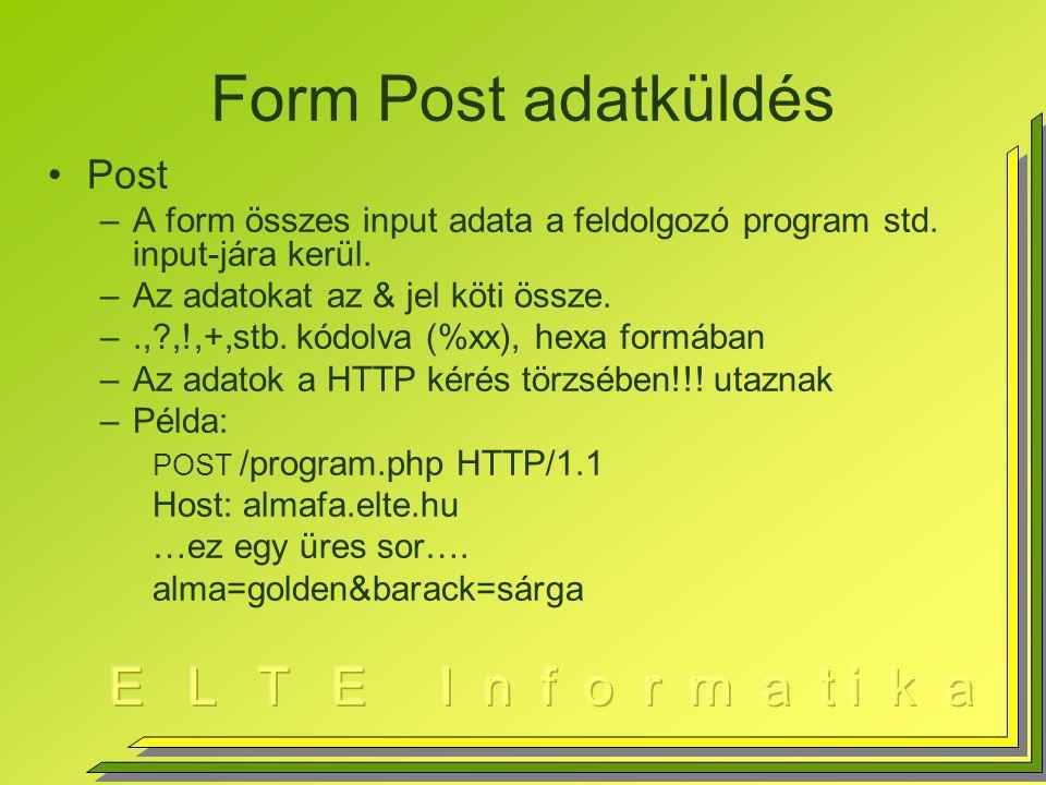 Form Post adatküldés Post –A form összes input adata a feldolgozó program std.