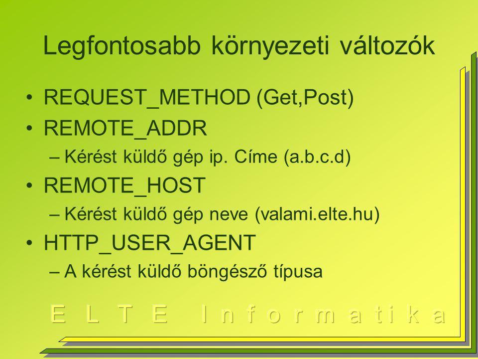 Legfontosabb környezeti változók REQUEST_METHOD (Get,Post) REMOTE_ADDR –Kérést küldő gép ip.