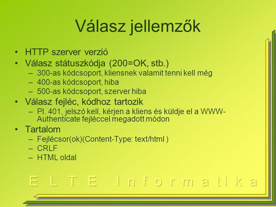 Válasz jellemzők HTTP szerver verzió Válasz státuszkódja (200=OK, stb.) –300-as kódcsoport, kliensnek valamit tenni kell még –400-as kódcsoport, hiba –500-as kódcsoport, szerver hiba Válasz fejléc, kódhoz tartozik –Pl.