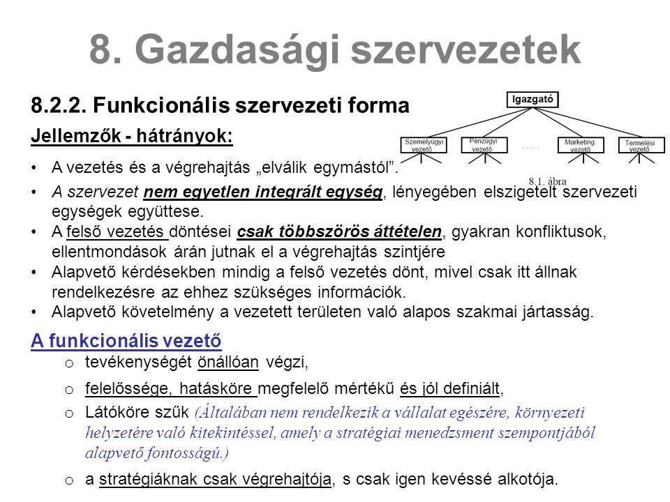 8.2.2.Funkcionális szervezeti forma 8.
