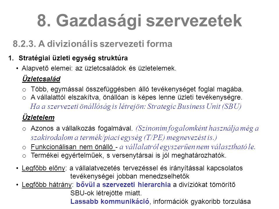 8.2.3.A divizionális szervezeti forma 8.