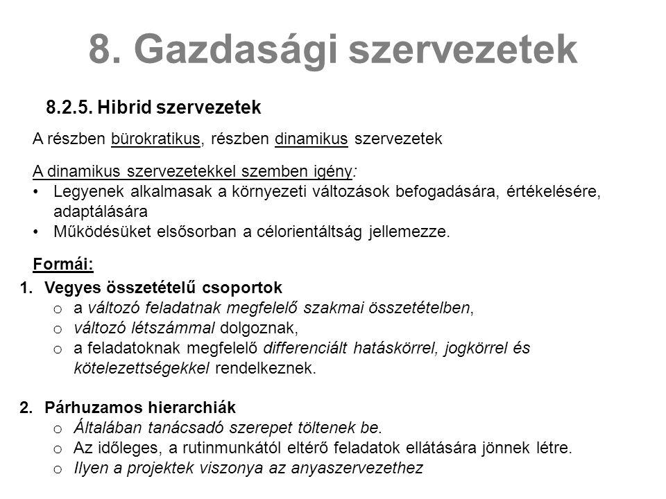 8.2.5.Hibrid szervezetek 8.