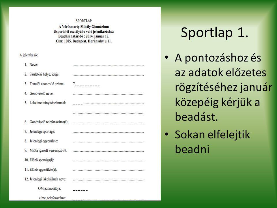 Sportlap 1. A pontozáshoz és az adatok előzetes rögzítéséhez január közepéig kérjük a beadást. Sokan elfelejtik beadni