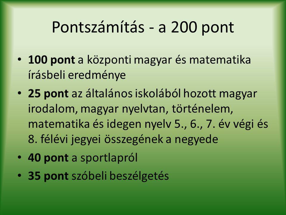 Pontszámítás - a 200 pont 100 pont a központi magyar és matematika írásbeli eredménye 25 pont az általános iskolából hozott magyar irodalom, magyar ny