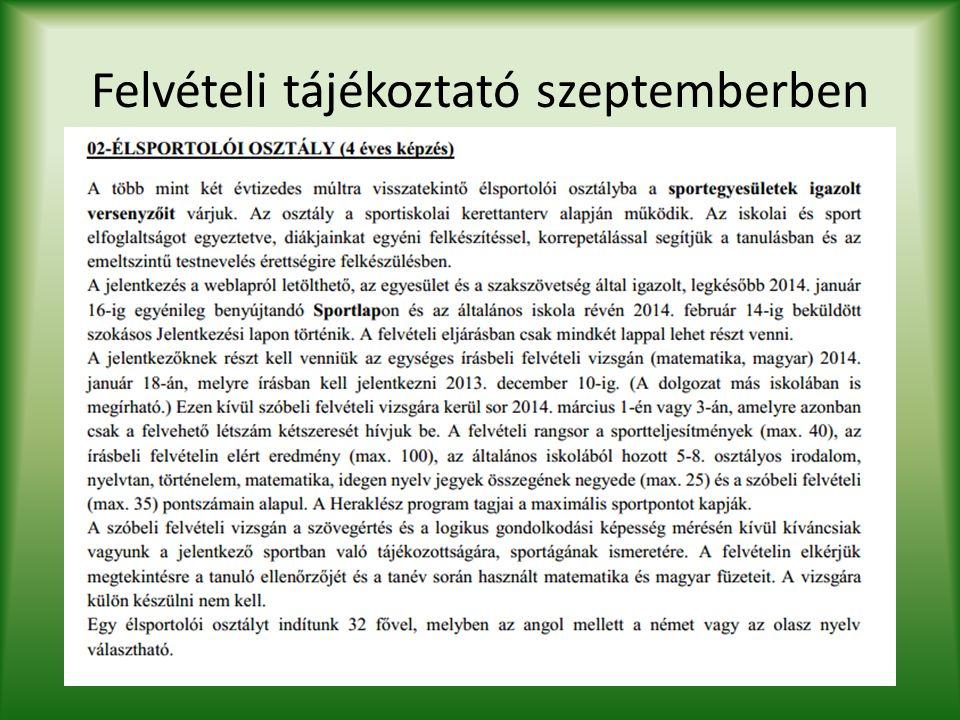 Felvételi tájékoztató szeptemberben