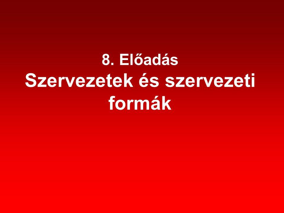 8. Előadás Szervezetek és szervezeti formák