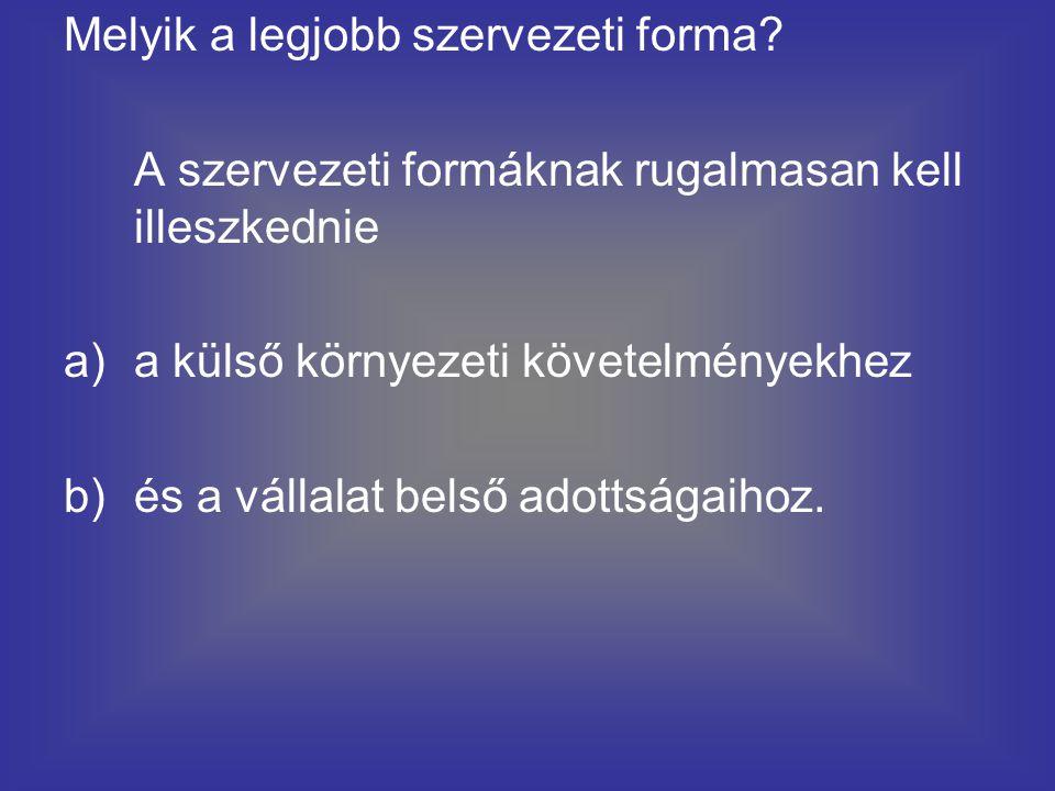 Melyik a legjobb szervezeti forma? A szervezeti formáknak rugalmasan kell illeszkednie a)a külső környezeti követelményekhez b)és a vállalat belső ado