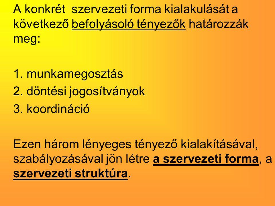 A konkrét szervezeti forma kialakulását a következő befolyásoló tényezők határozzák meg: 1. munkamegosztás 2. döntési jogosítványok 3. koordináció Eze