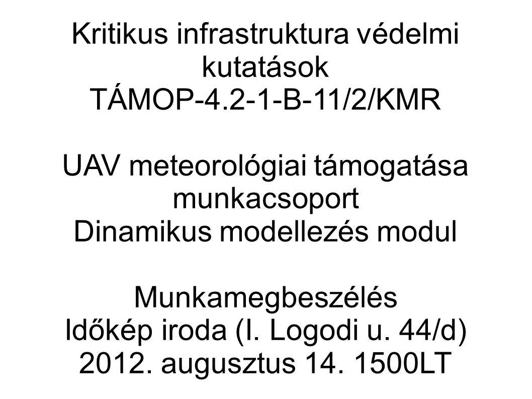 Kritikus infrastruktura védelmi kutatások TÁMOP-4.2-1-B-11/2/KMR UAV meteorológiai támogatása munkacsoport Dinamikus modellezés modul Munkamegbeszélés Időkép iroda (I.