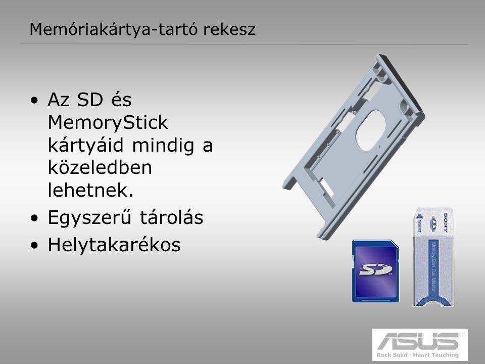 11 Memóriakártya-tartó rekesz Az SD és MemoryStick kártyáid mindig a közeledben lehetnek.