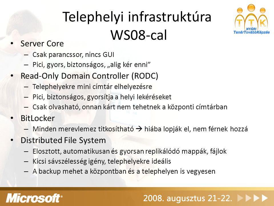 """Telephelyi infrastruktúra WS08-cal Server Core – Csak parancssor, nincs GUI – Pici, gyors, biztonságos, """"alig kér enni"""" Read-Only Domain Controller (R"""