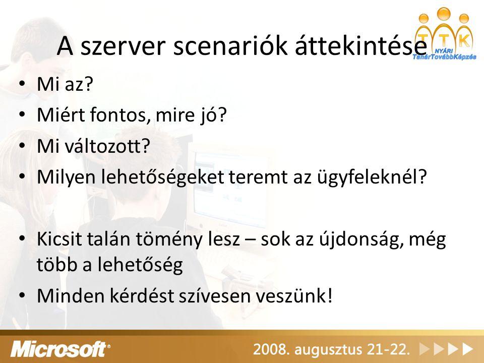 """Server Core """"Windows without Windows Teljesen új elképzelés – Minimum környezet – """"sallangok nélkül, viszont kompromisszumokkal – Kifejezetten bizonyos szerepkörök ellátására – Nem külön verzió, hanem egy telepítési opció – Minden telepítő média tartalmazza Stabil működés – Csak a legszükségesebb szerepkörök és képességek – Példa: kevesebb rendszerszolgáltatás (40 / 75)"""