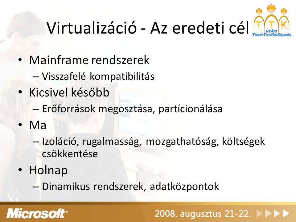 Virtualizáció - Az eredeti cél Mainframe rendszerek – Visszafelé kompatibilitás Kicsivel később – Erőforrások megosztása, partícionálása Ma – Izoláció