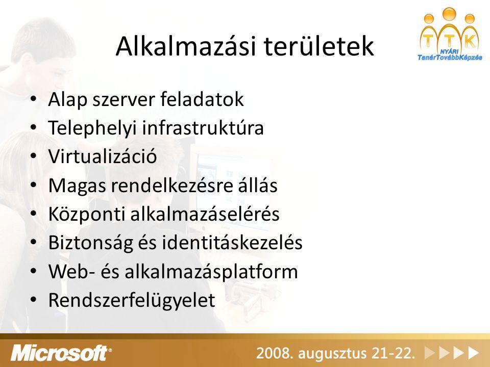 """Újfajta megoldási módok Prezentáció-virtualizáció – Terminal Services – vékony kliens, amolyan """"terminál , """"konzol – Minden alkalmazás a szerverre van telepítve – Megadjuk ki mit érhet el (akár egy teljes desktopot, akár egyes alkalmazásokat) – A felhasználók rákapcsolódnak a szerverre, és az alkalmazás a szerveren fut – Csak a szerveren kell frissíteni – Sávszélesség igénye van Alkalmazás-virtualizáció – SoftGrid – érdekes köztes megoldás – Az alkalmazások csomagjai a disztribúciós szervereken vannak, ott frissítjük őket – A szerveren mondjuk meg, ki mit használhat – Első használatkor a kliens letölti (streameli) az alkalmazás-csomagot, később ha kell, maga frissíti (letölti újra) – Az alkalmazás valójában nem is települ fel a kliensre, csak rajta fut – Alkalmazás-izoláció: minden alkalmazás azt hiszi, hogy csak ő fut a kliensen, a kliens pedig azt hiszi, hogy semmilyen alkalmazás nem is fut rajta – Nincsenek kompatibilitási problémák, tesztek (Java verziók, Office verziók)"""