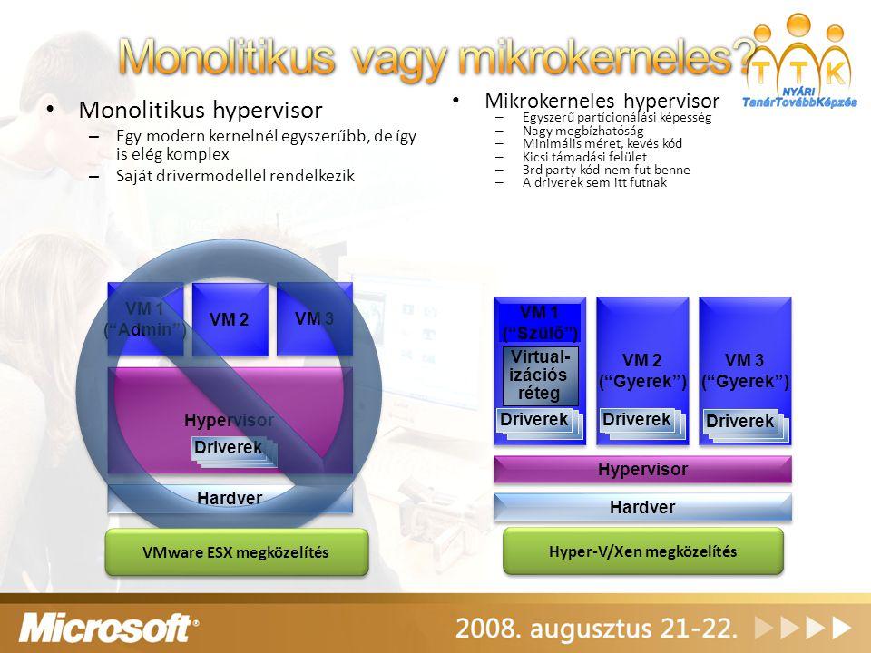 Monolitikus hypervisor – Egy modern kernelnél egyszerűbb, de így is elég komplex – Saját drivermodellel rendelkezik Mikrokerneles hypervisor – Egyszer