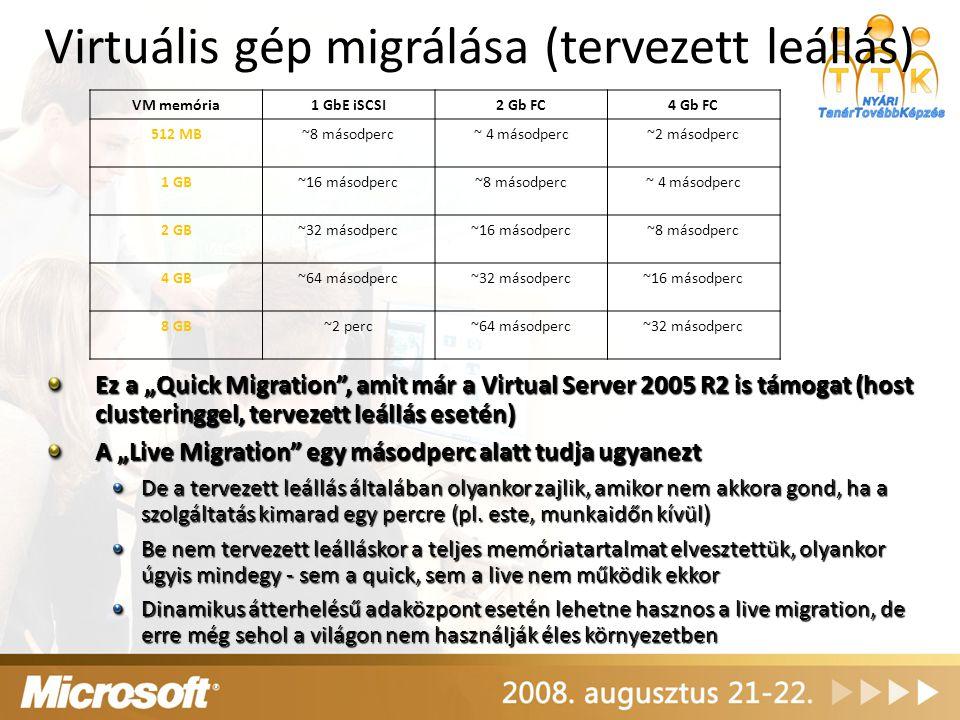 Virtuális gép migrálása (tervezett leállás) VM memória1 GbE iSCSI2 Gb FC4 Gb FC 512 MB~8 másodperc~ 4 másodperc~2 másodperc 1 GB~16 másodperc~8 másodp