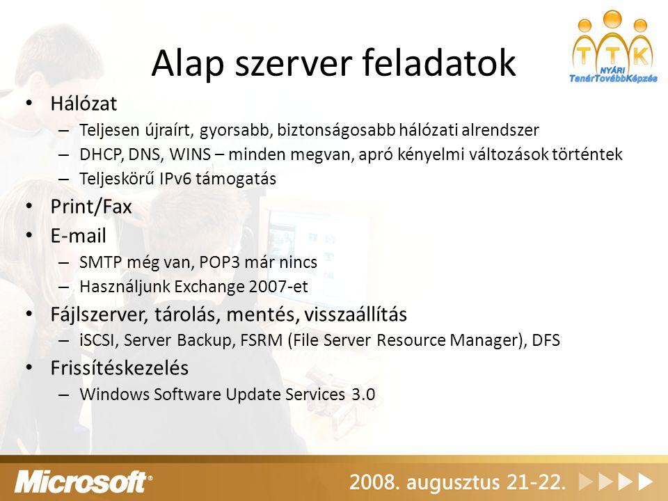 Hyper-V 64 bites – 64 és 32 bites virtuális gépek támogatása vegyesen – Szinte korlátlan méretű memória használata Mikrokerneles hypervisor-alapú Szervervirtualizációs megoldás Szabványokra épülő megvalósítás Előkövetelmények – x64-es hardver – x64-es Windows Server 2008 – Hardveres virtualizáció-támogatás AMD-V (Pacifica) vagy Intel VT – Hardveres Data Execution Prevention (DEP) támogatás – AMD (NX - no execute bit) – Intel (XD - execute disable)