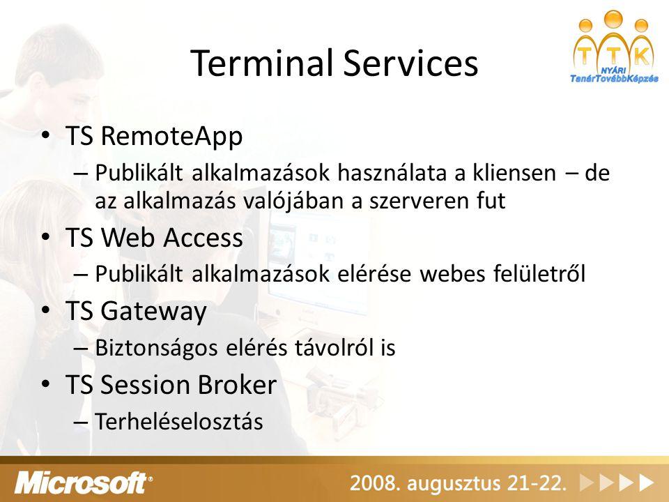 Terminal Services TS RemoteApp – Publikált alkalmazások használata a kliensen – de az alkalmazás valójában a szerveren fut TS Web Access – Publikált a