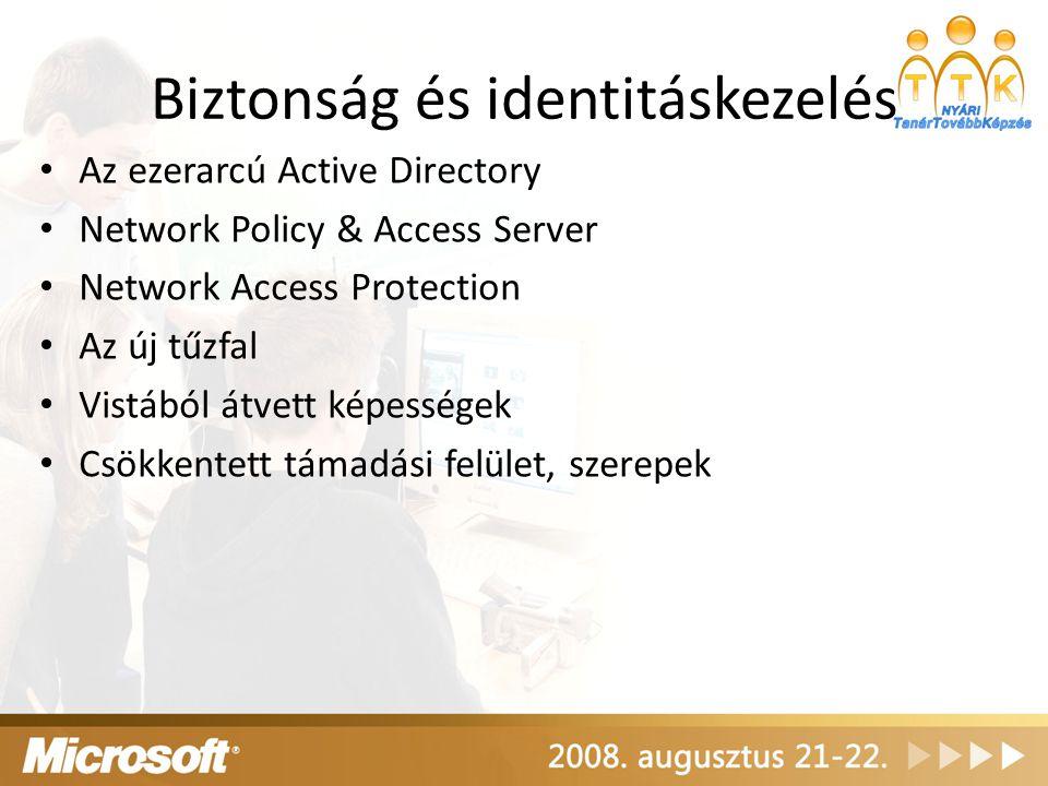 Biztonság és identitáskezelés Az ezerarcú Active Directory Network Policy & Access Server Network Access Protection Az új tűzfal Vistából átvett képes