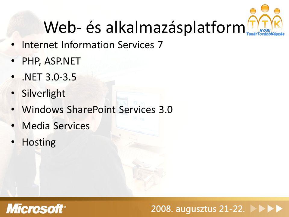 Web- és alkalmazásplatform Internet Information Services 7 PHP, ASP.NET.NET 3.0-3.5 Silverlight Windows SharePoint Services 3.0 Media Services Hosting