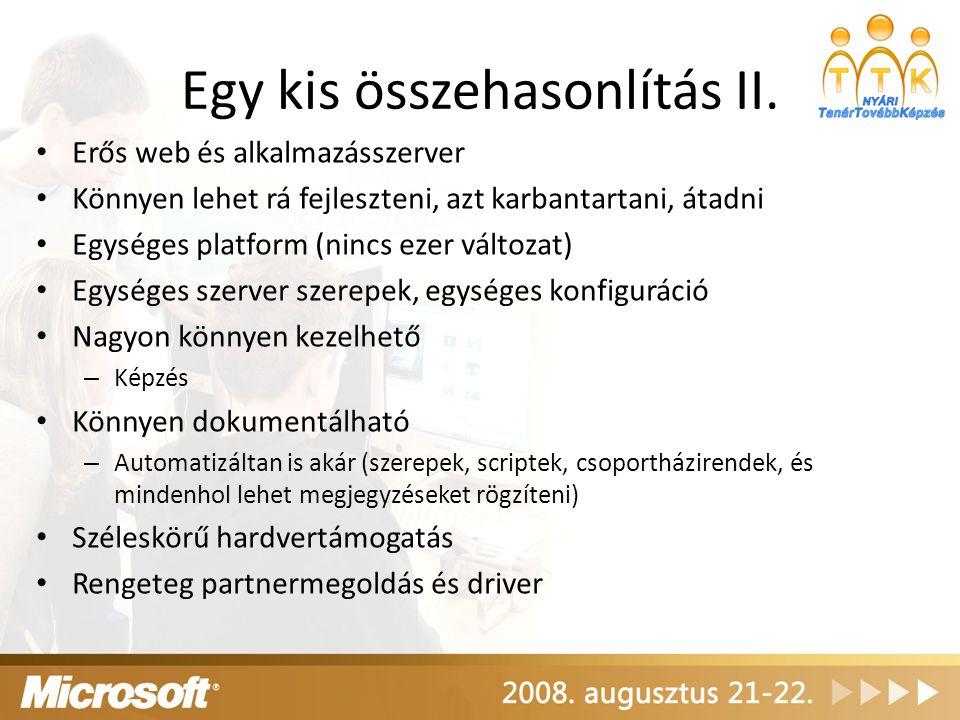 Egy kis összehasonlítás II. Erős web és alkalmazásszerver Könnyen lehet rá fejleszteni, azt karbantartani, átadni Egységes platform (nincs ezer változ