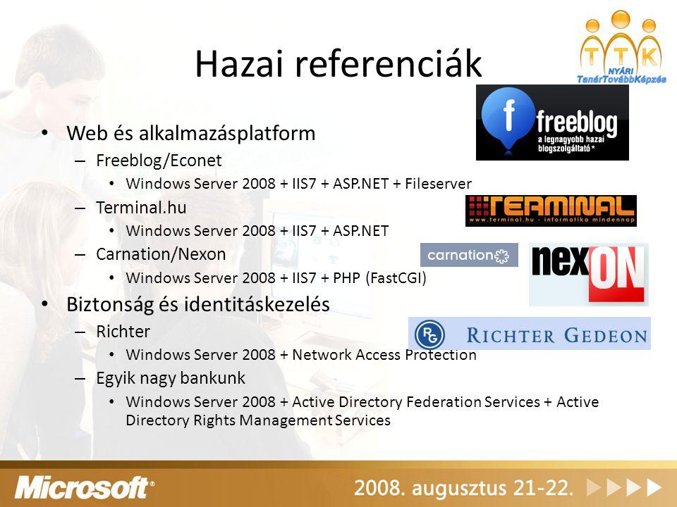 Hazai referenciák Web és alkalmazásplatform – Freeblog/Econet Windows Server 2008 + IIS7 + ASP.NET + Fileserver – Terminal.hu Windows Server 2008 + II