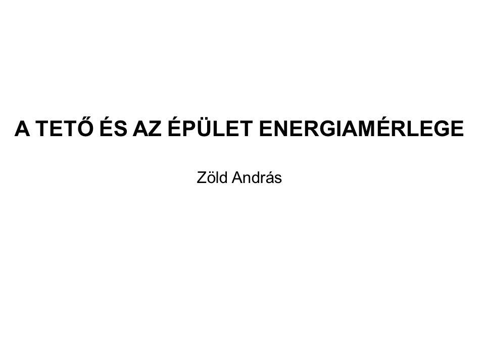 A TETŐ ÉS AZ ÉPÜLET ENERGIAMÉRLEGE Zöld András