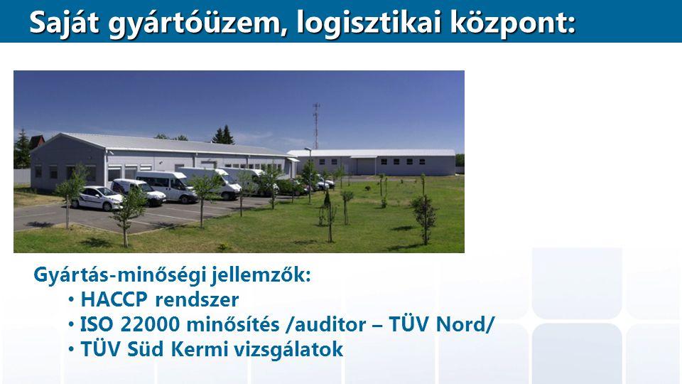 Gyártás-minőségi jellemzők: HACCP rendszer ISO 22000 minősítés /auditor – TÜV Nord/ TÜV Süd Kermi vizsgálatok Saját gyártóüzem, logisztikai központ: S