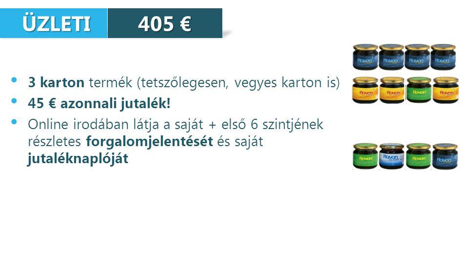 ÜZLETI ÜZLETI 3 karton termék (tetszőlegesen, vegyes karton is) 45 € azonnali jutalék.