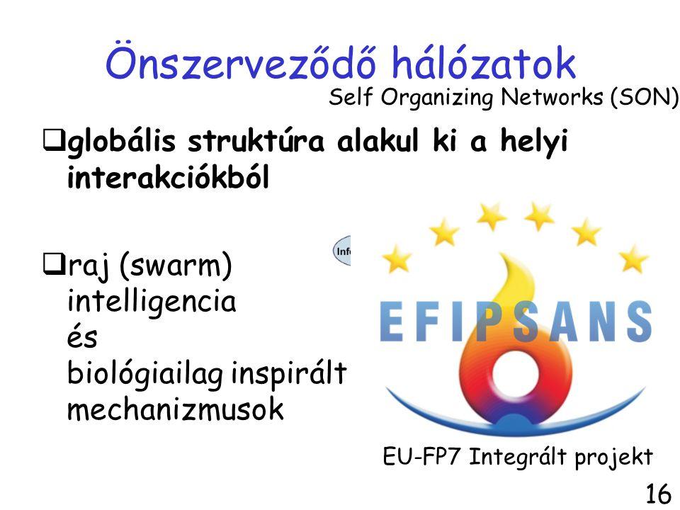 Önszerveződő hálózatok  globális struktúra alakul ki a helyi interakciókból  raj (swarm) intelligencia és biológiailag inspirált mechanizmusok Self