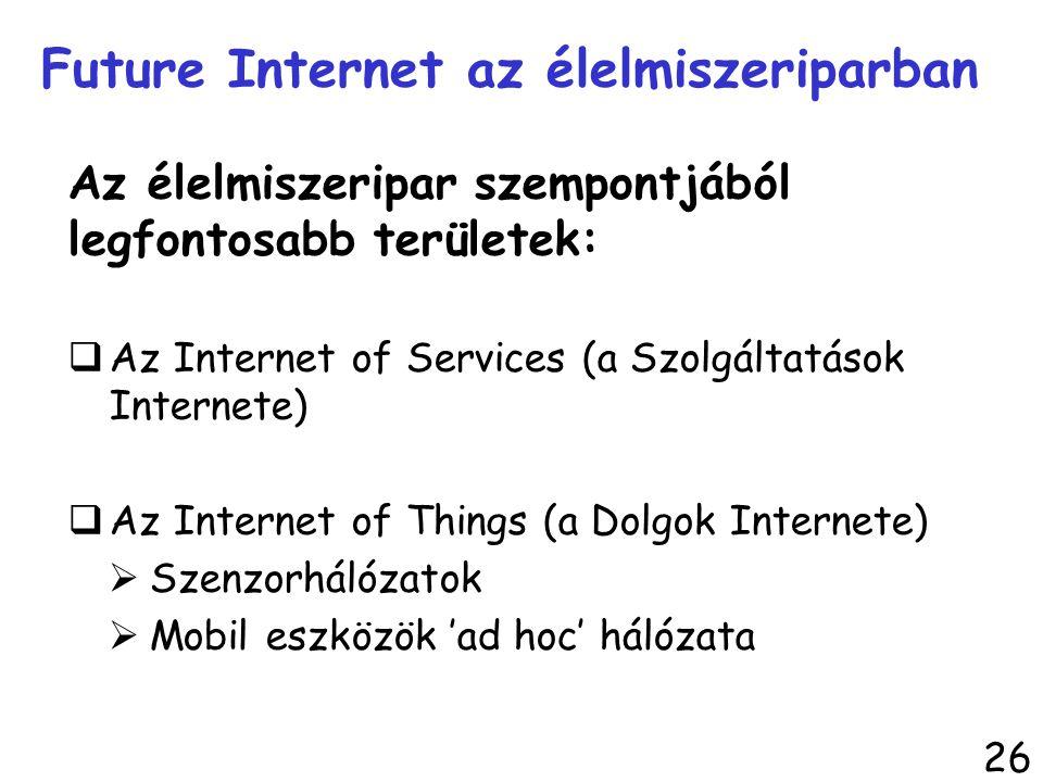 Az élelmiszeripar szempontjából legfontosabb területek:  Az Internet of Services (a Szolgáltatások Internete)  Az Internet of Things (a Dolgok Inter