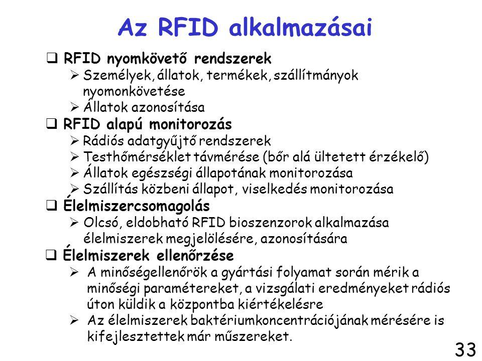 Az RFID alkalmazásai  RFID nyomkövető rendszerek  Személyek, állatok, termékek, szállítmányok nyomonkövetése  Állatok azonosítása  RFID alapú moni