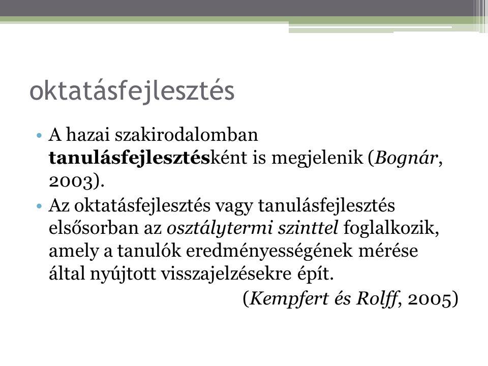 oktatásfejlesztés A hazai szakirodalomban tanulásfejlesztésként is megjelenik (Bognár, 2003). Az oktatásfejlesztés vagy tanulásfejlesztés elsősorban a