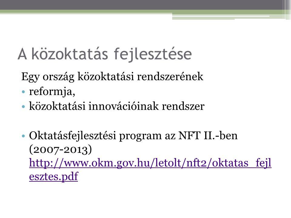 A közoktatás fejlesztése Egy ország közoktatási rendszerének reformja, közoktatási innovációinak rendszer Oktatásfejlesztési program az NFT II.-ben (2