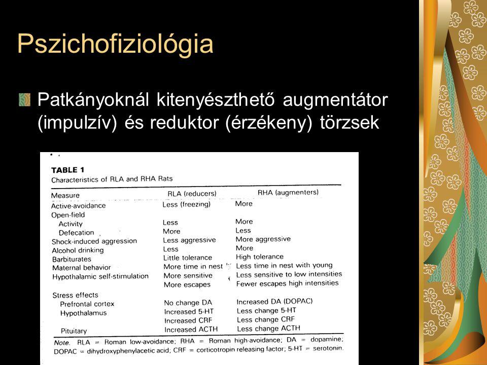 Pszichofiziológia Patkányoknál kitenyészthető augmentátor (impulzív) és reduktor (érzékeny) törzsek