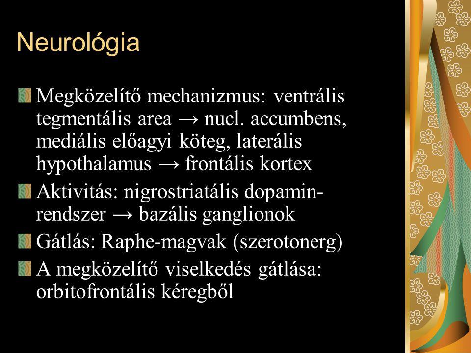 Neurológia Megközelítő mechanizmus: ventrális tegmentális area → nucl. accumbens, mediális előagyi köteg, laterális hypothalamus → frontális kortex Ak