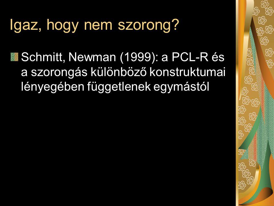 Igaz, hogy nem szorong? Schmitt, Newman (1999): a PCL-R és a szorongás különböző konstruktumai lényegében függetlenek egymástól